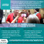 Free campaigning training for people age 60 and above in the UK